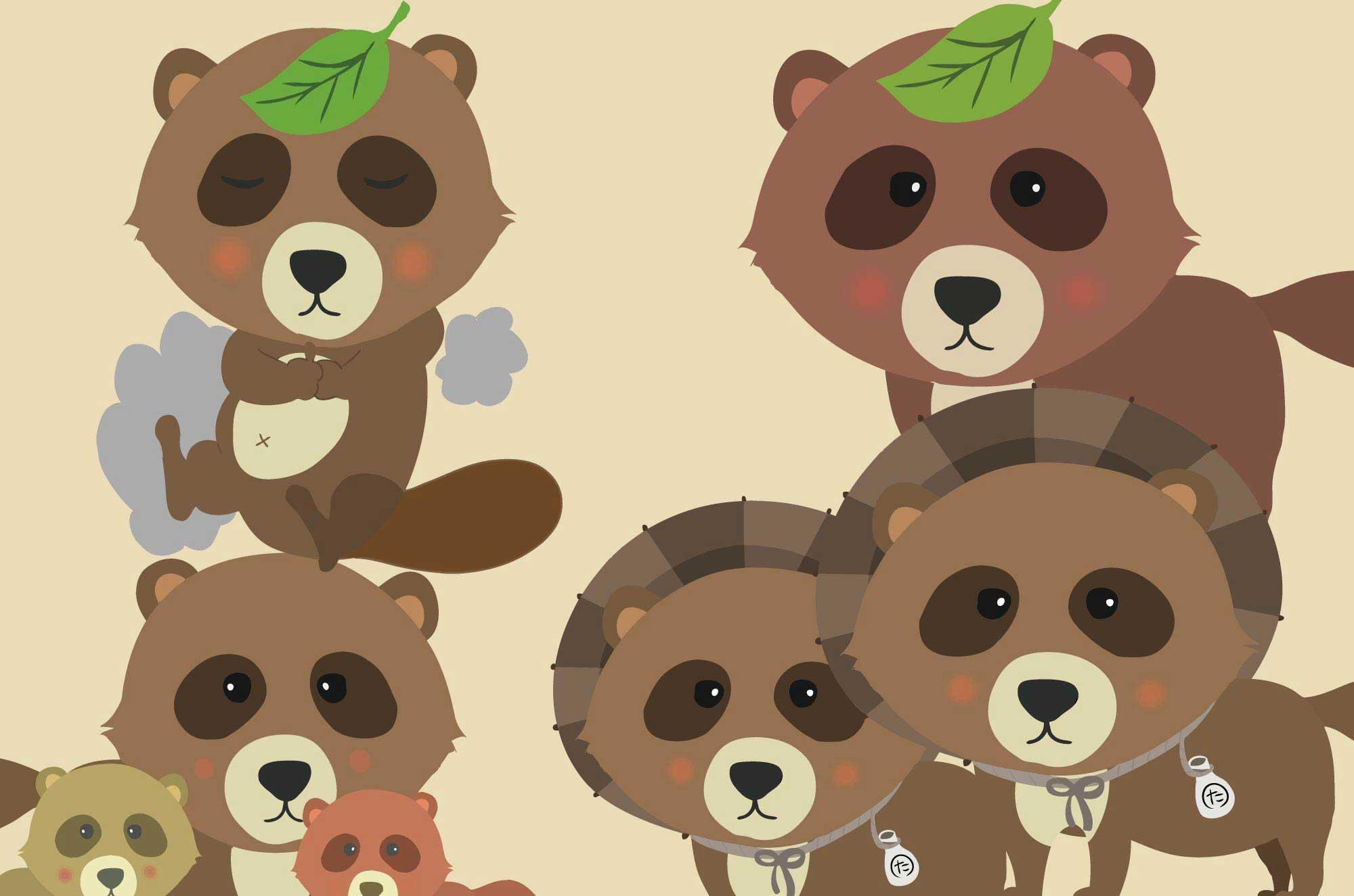 たぬきイラスト - 可愛いくて面白い表情の動物無料素材
