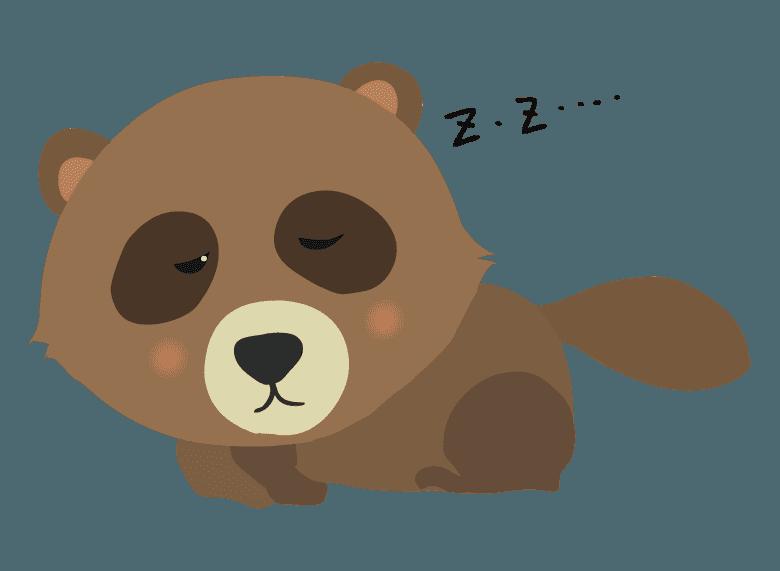 狸寝入りしているたぬきイラスト