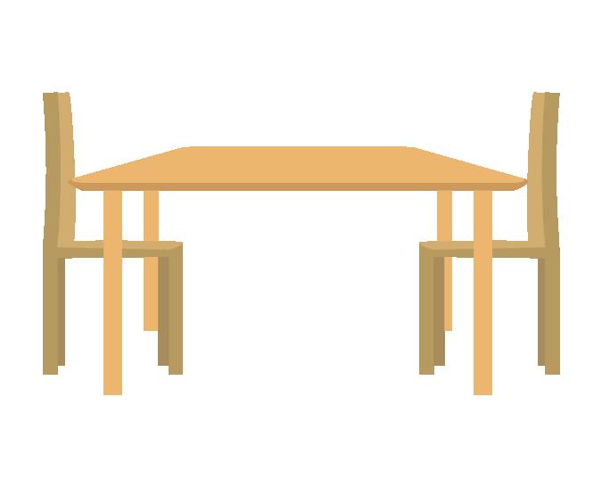 横から見た食卓テーブルのイラスト