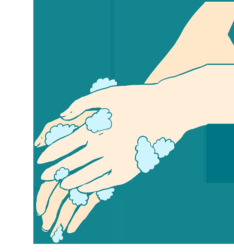 手の平を洗う手洗いのイラスト