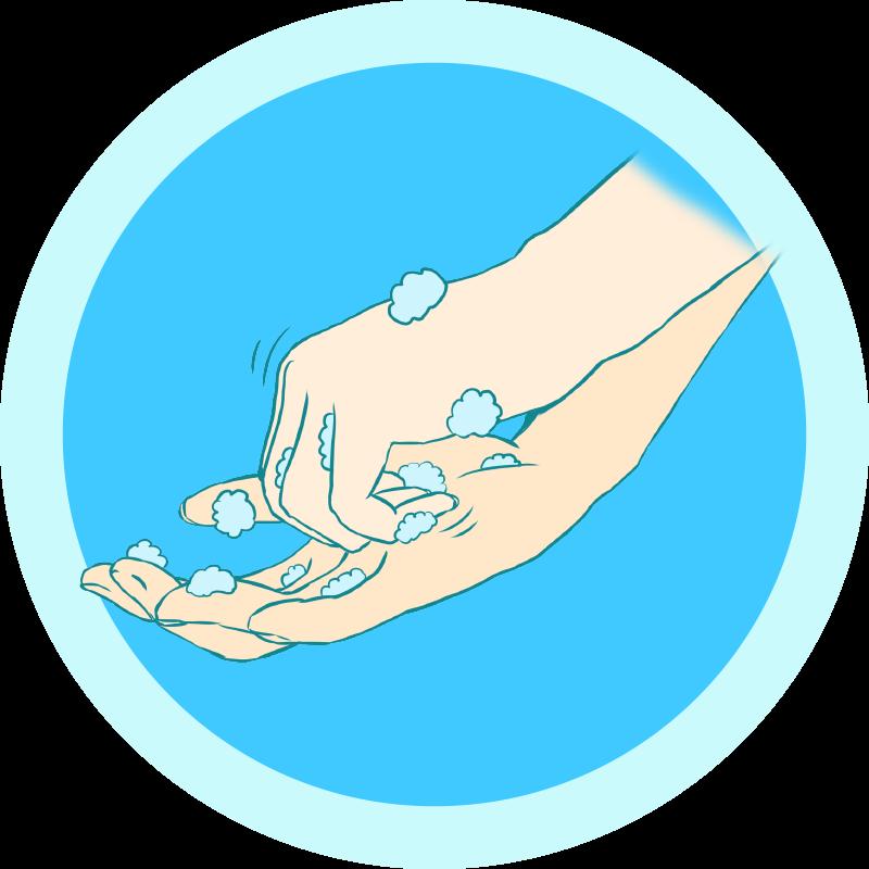 爪の間を洗う手洗いのイラスト
