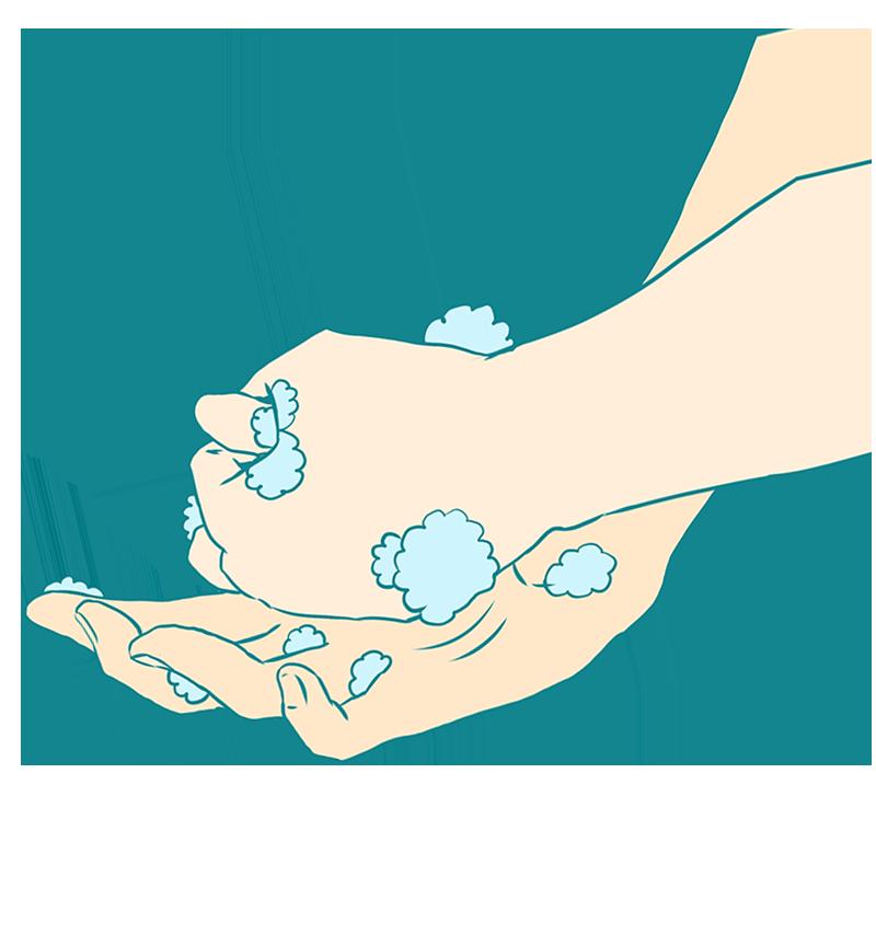 親指をまわしながら洗う手洗いのイラスト