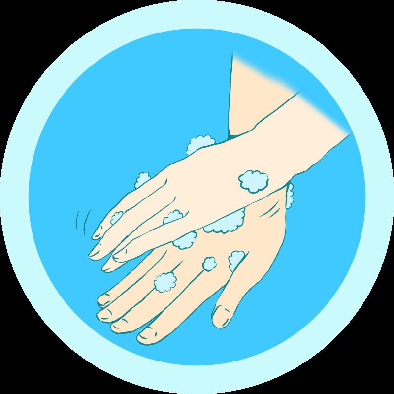 手の甲を洗う手洗いのイラスト