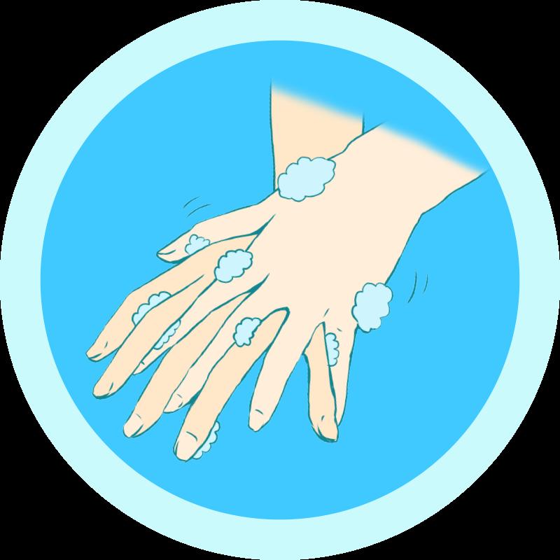 指と指の間を洗う手洗いのイラスト
