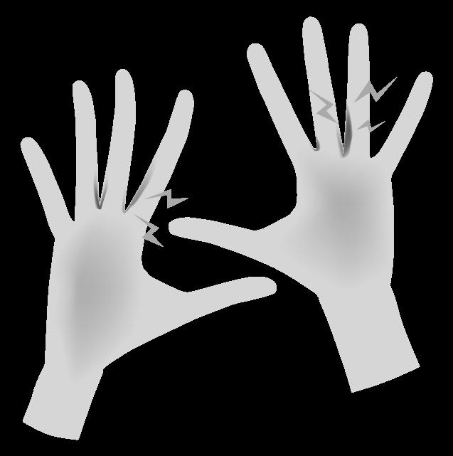 手荒れがひどい手(白黒)のイラスト