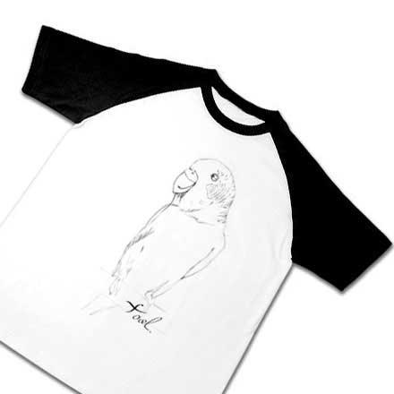 インコの手描きラグランTシャツ