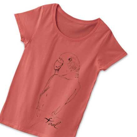 ラフなインコのイラストTシャツ - レディース