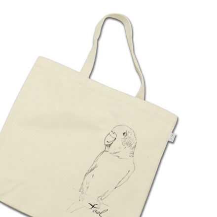 手描きのインコのアートトートバッグ