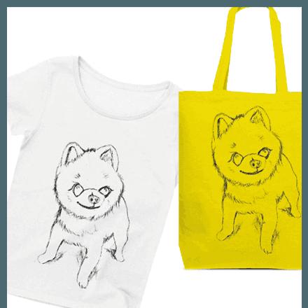 かわいい♡手描きのポメラニアングッズ★デザインTシャツやトートバッグなど