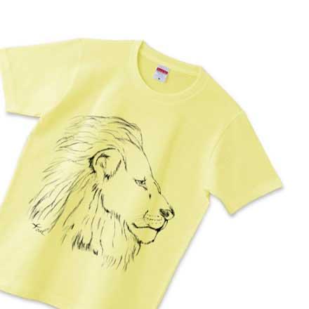 黄色い手描きライオンtシャツ