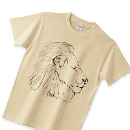 ナチュラルカラー手描きライオンTシャツ