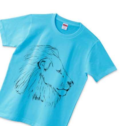 水色の手書きのライオンTシャツ