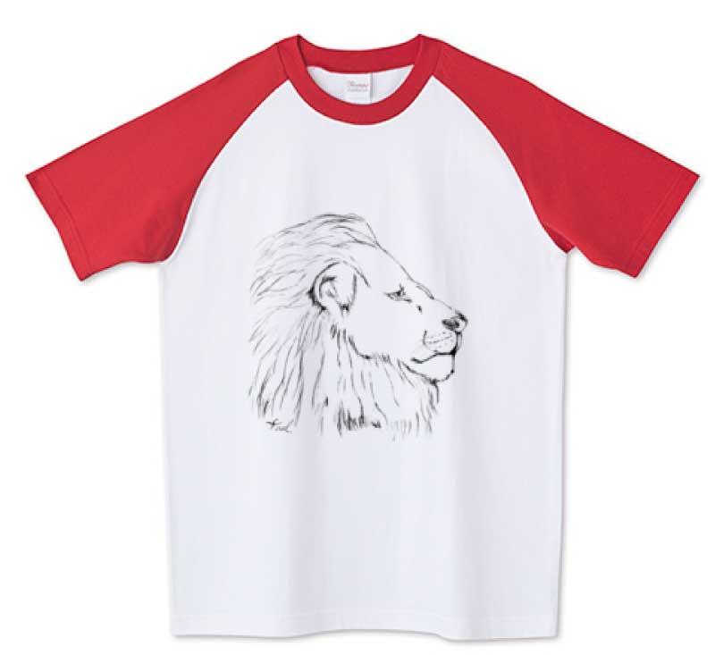 手書きのライオンラグランTシャツ