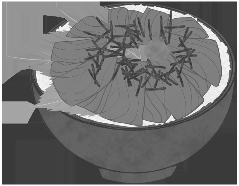 白黒の鉄火丼のイラスト
