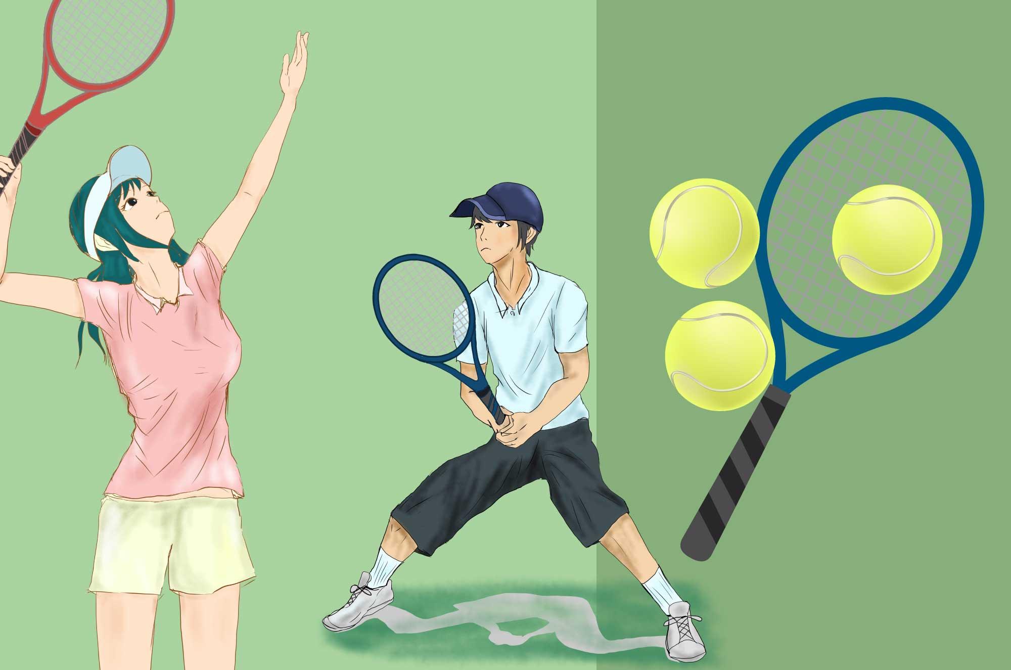 テニスの無料イラスト - ラケット・ボール・コート
