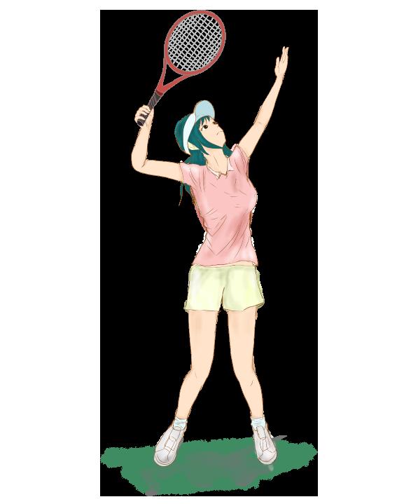 テニスの女性プレイヤーのイラスト