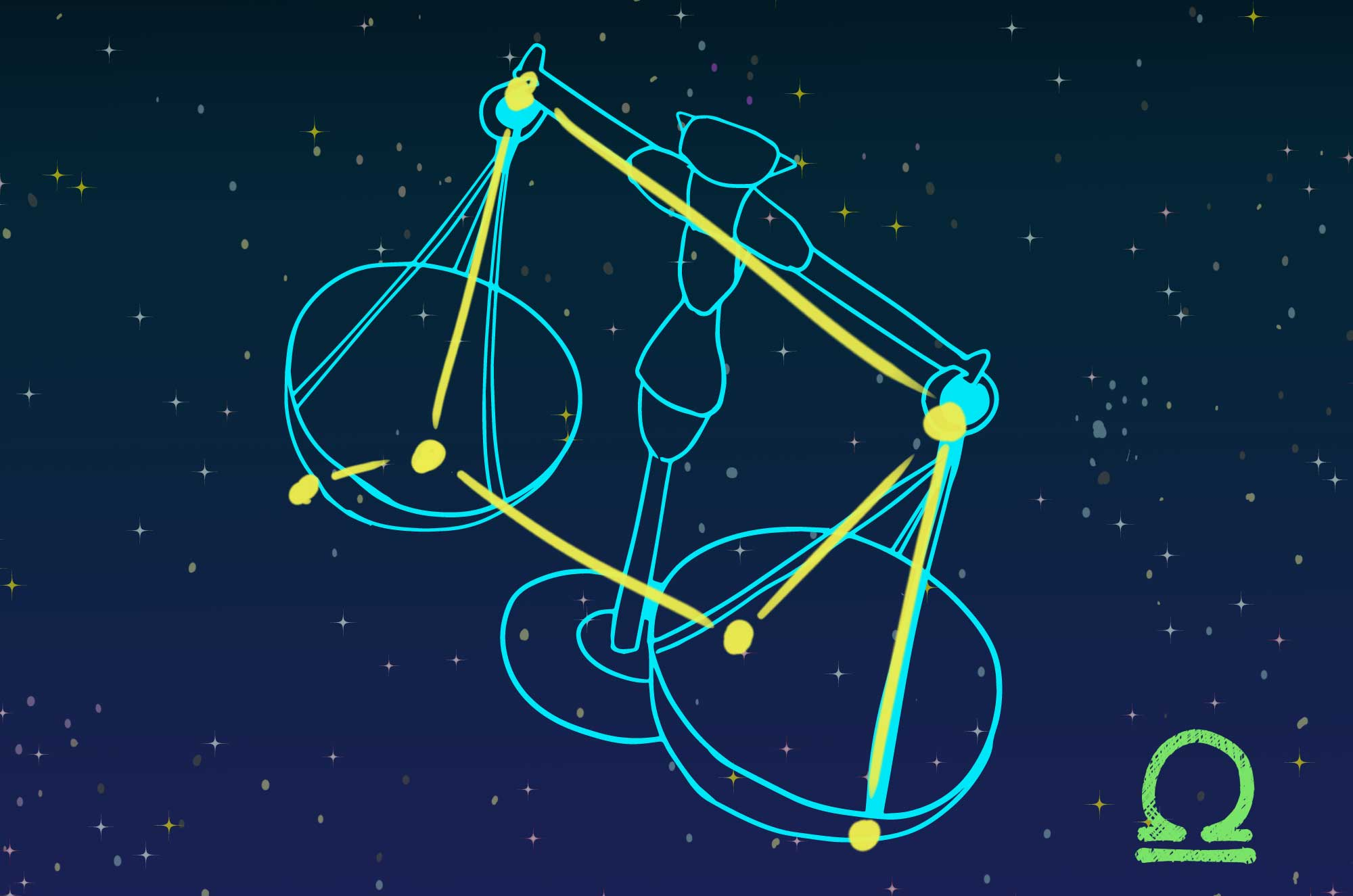 天秤座のイラスト - マーク・星座カード無料素材