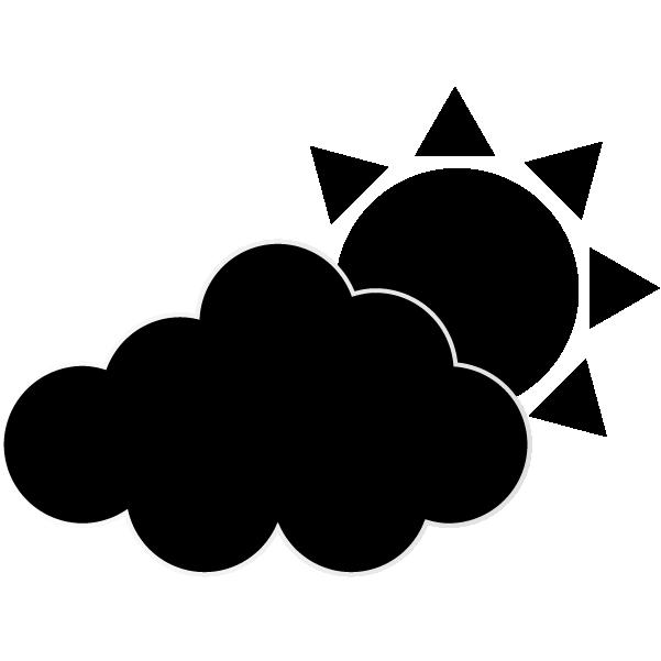 曇りのち晴れのシルエットのイラスト