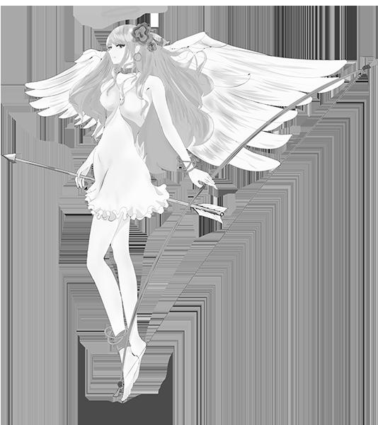 可愛い天使のイラスト(白黒)