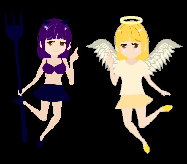 可愛い天使・悪魔のイラスト