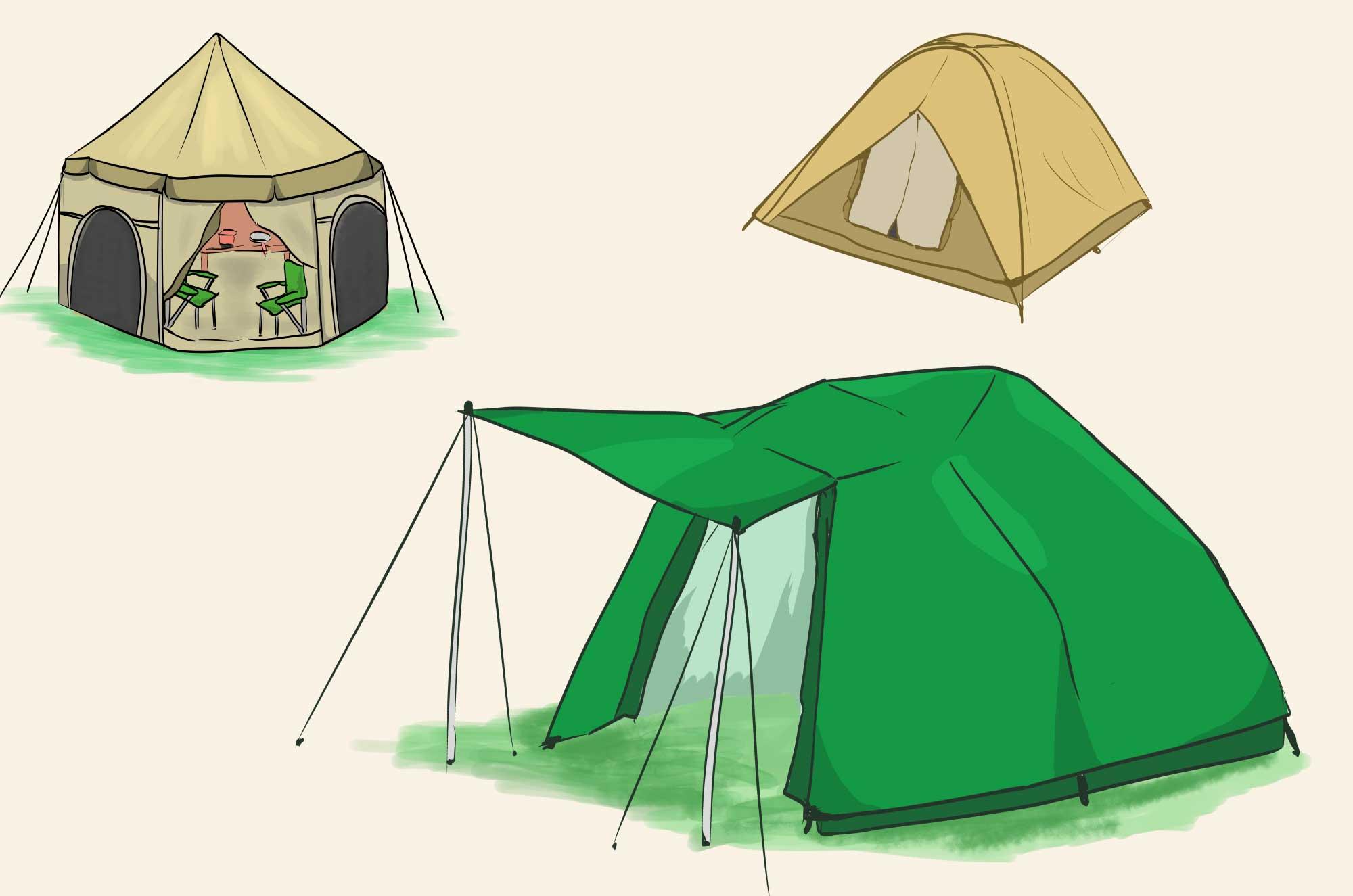 テントのイラスト - ドーム型・一人用キャンプ用品