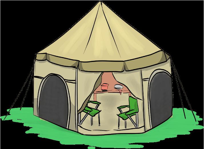 大型ドーム型のテントのイラスト