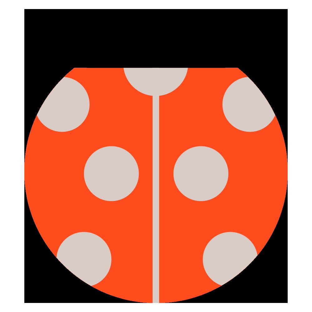 オレンジ色のてんとう虫のマークのイラスト