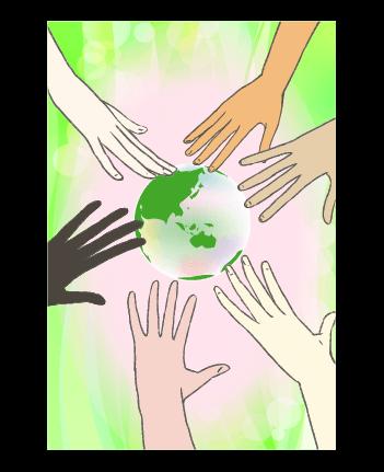 手と地球のイラスト