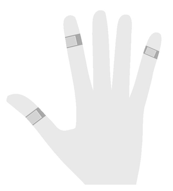 白黒の絆創膏だらけのて手のイラスト
