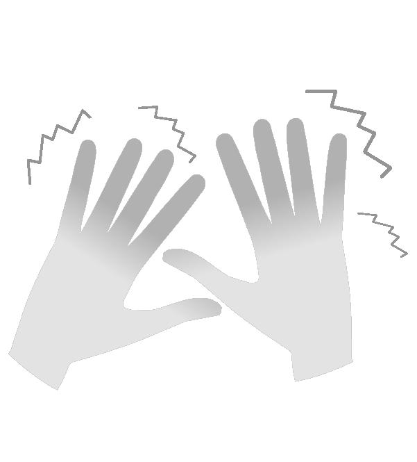 白黒の霜焼けの手のイラスト
