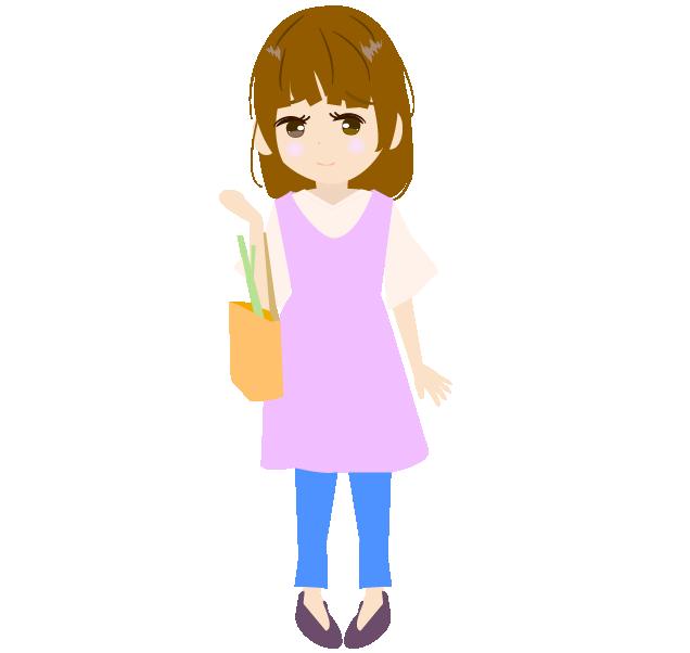 買い物帰りの主婦のイラスト