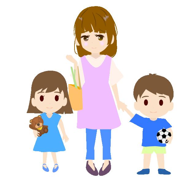 子どもと手を繋ぐ主婦のイラスト