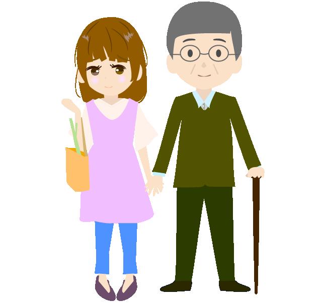 おじいちゃんと手を繋ぐ主婦のイラスト