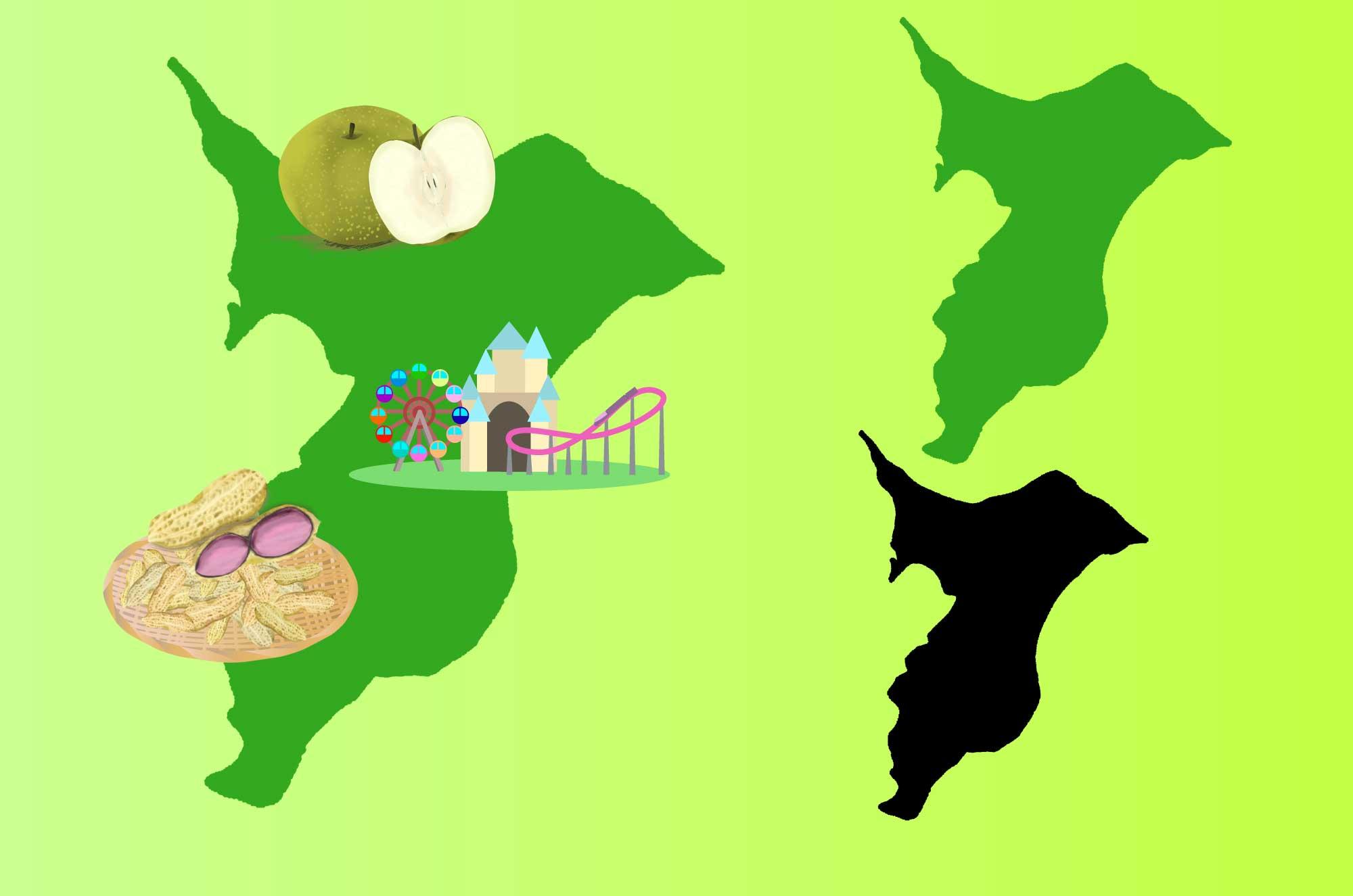 千葉のイラスト - 名産と地図・大陸の無料素材
