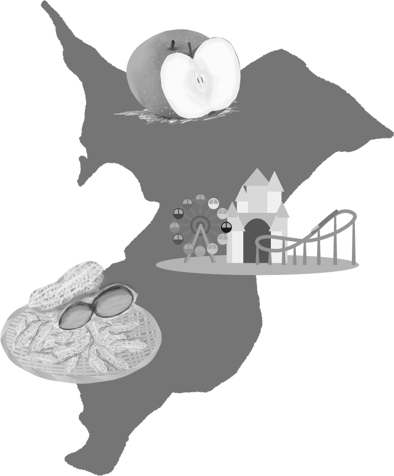 千葉県の名産と大陸のイラスト(白黒)