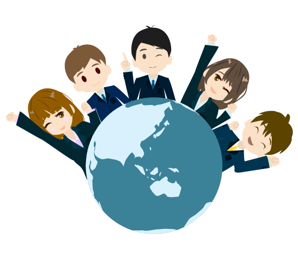 地球とビジネスマンのイラスト