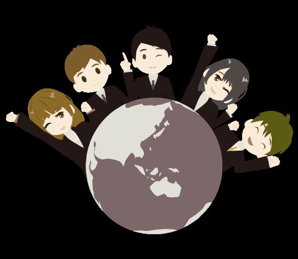 地球とビジネスマンのイラスト(茶)