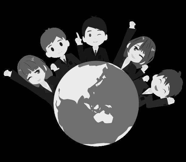 地球とビジネスマンのイラスト(白黒)