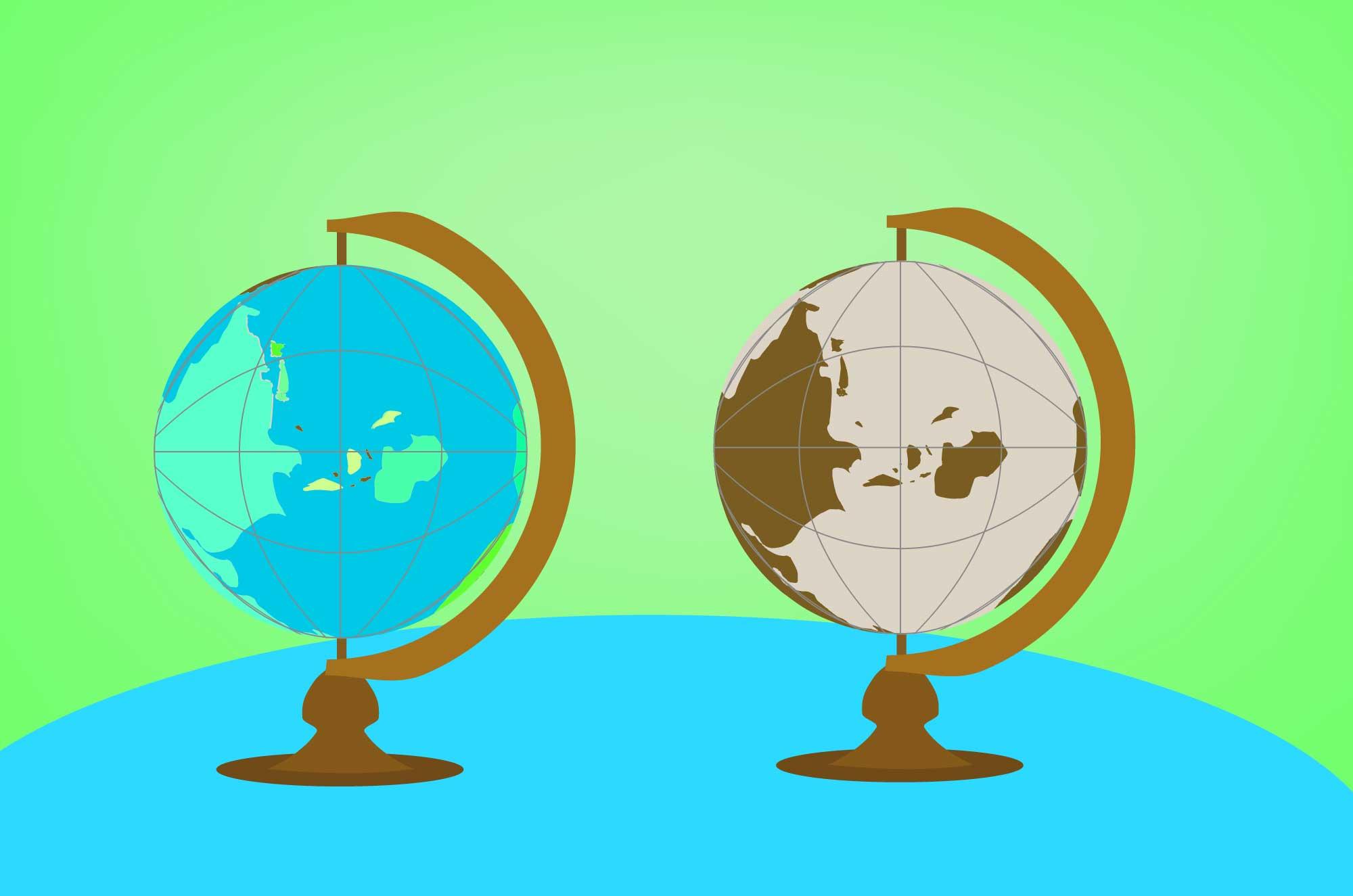 地球儀の無料イラスト - 茶・水色・グレーの模型