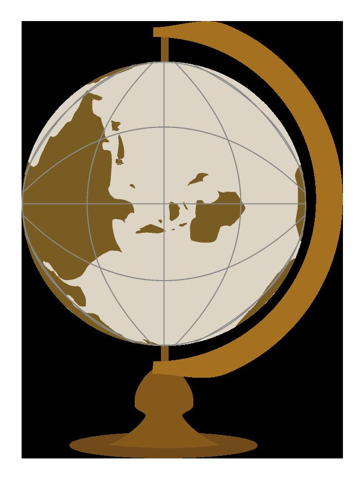 茶色の地球儀のイラスト
