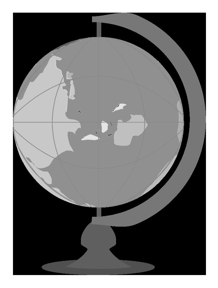 白黒の地球儀のイラスト