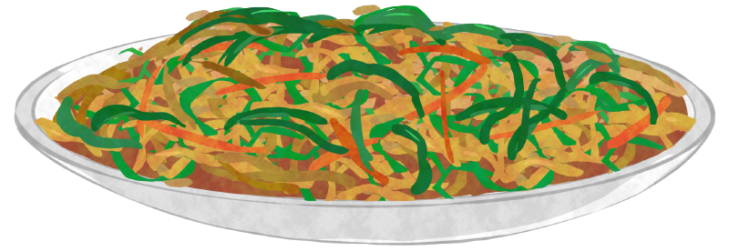 青椒肉絲のイラスト