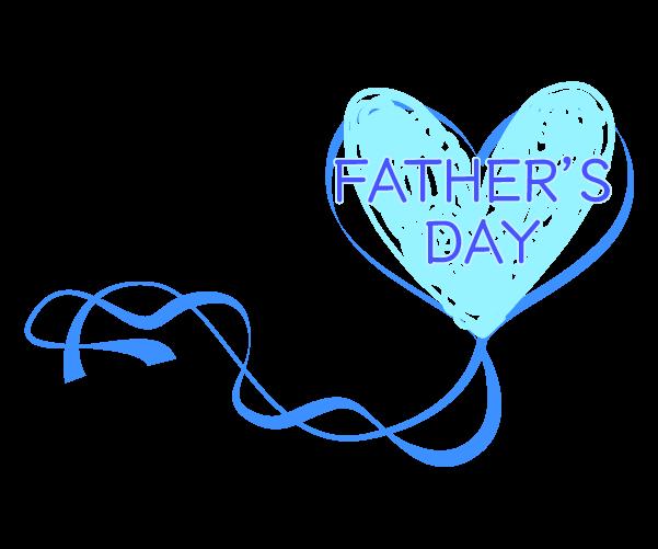 青いハートのリボンの父の日のイラスト
