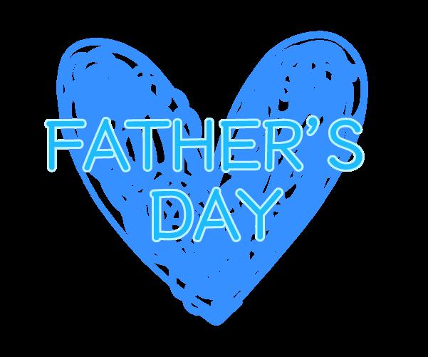 父の日の青いハートの飾りのイラスト