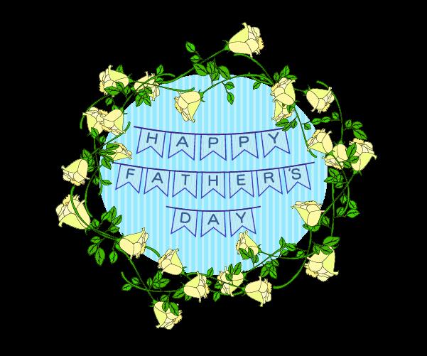 父の日の黄色い薔薇の飾りのイラスト