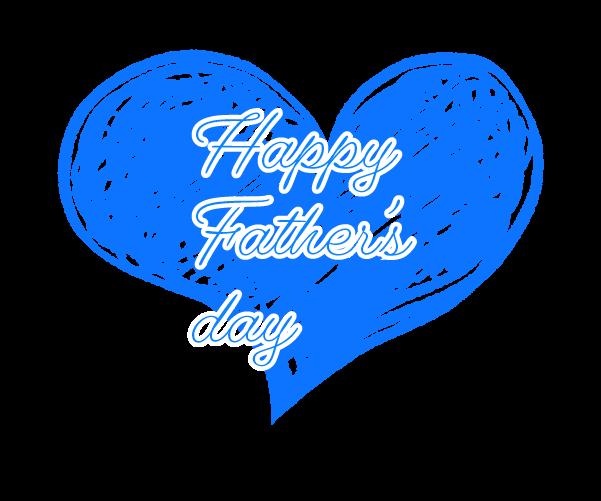 青いハートの父の日の飾りイラスト