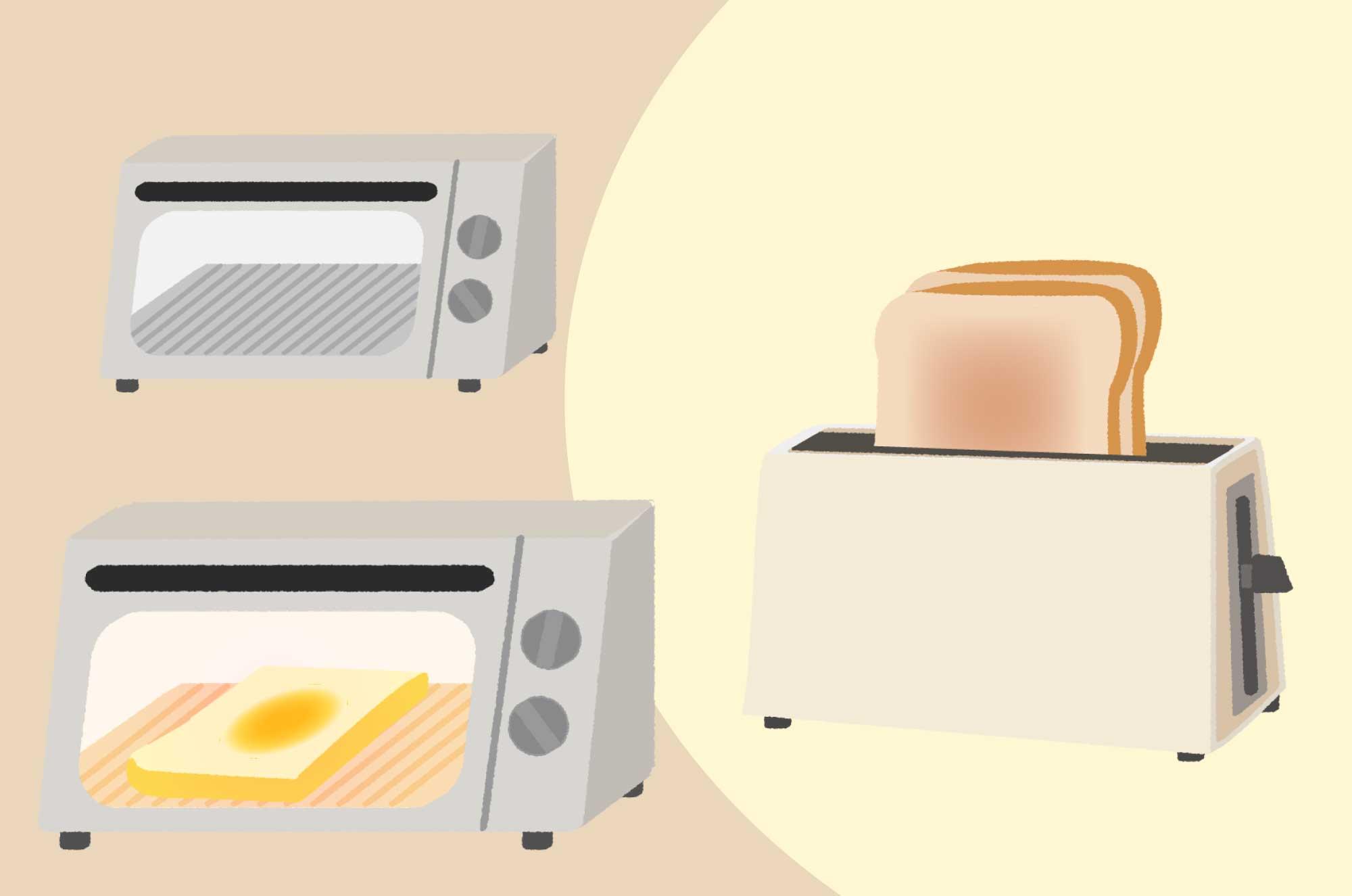 トースターのイラスト - 可愛い食パンと生活家電素材