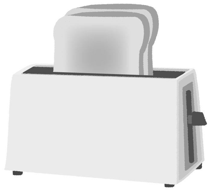白黒のトースターのイラスト