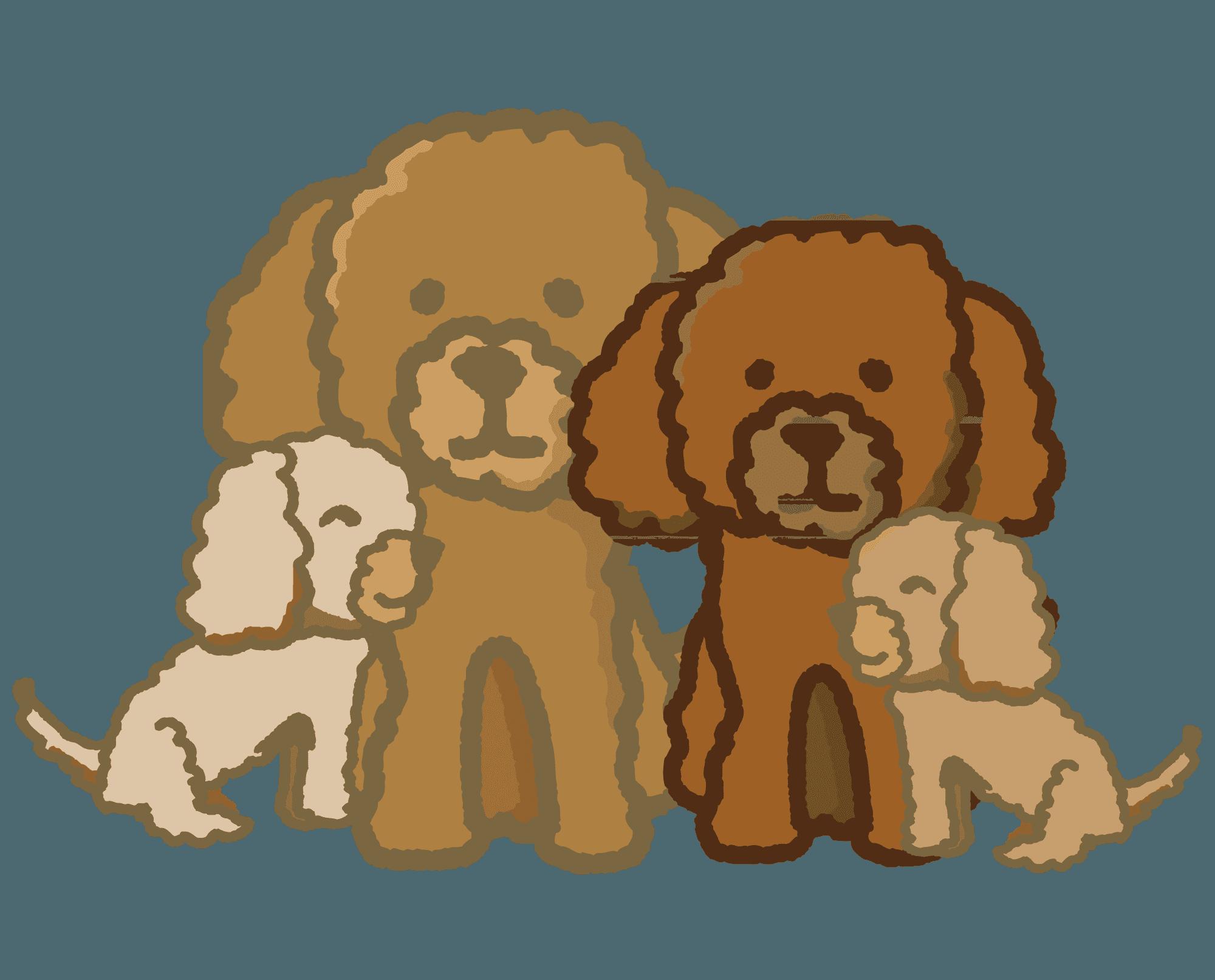 トイプードルの親子のイラスト