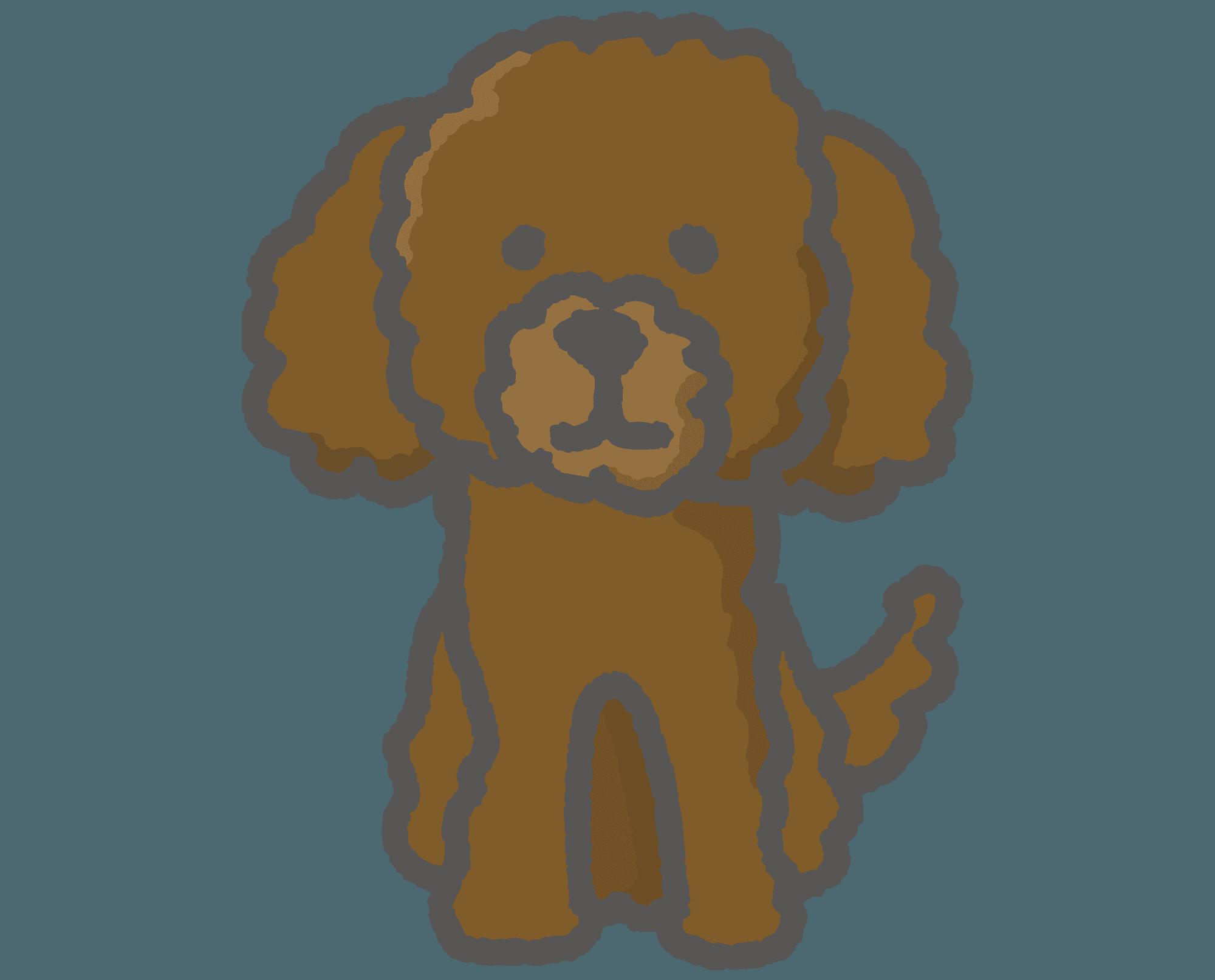 ダークブラウンのトイプードルトイプードルのイラスト